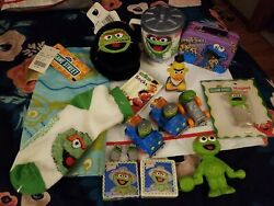 15 Piece Oscar Grouch Cup Sesame Street Lot Toys Figures Magnet Socks Ear Muffs