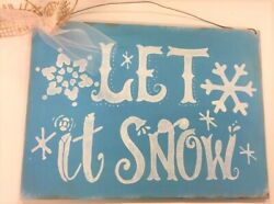 Let It Snow Blue White Painted Wooden Christmas Winter Wall Wreath Sign