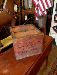 Antique Egg Box Carrier Wood Old Red Paint Advertising Baking Powder Illinois NR