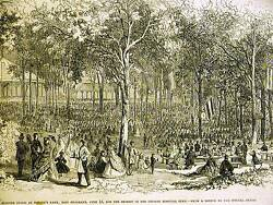 Brooklyn GERMAN HOSPITAL FUND  SCHACH'S PARK PICNIC 1864 Antique Print Matted