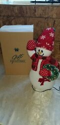 Avon Fiber Optic Snowman With Wreath NIB Gift Collection Retired 2002 15'' Tall