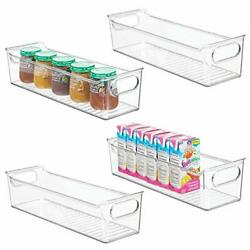 mDesign Storage Organizer Container Bin with Handles for (Pack of 4Clear)