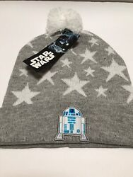 Disney STAR WARS Girls' Beanie gray white star R2D2 droid Hat brand new w tag $7.99
