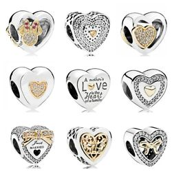 925 Sterling Silver Minnie & Mickey Love Gold Heart Bow Fit Bead Charm Bracelets