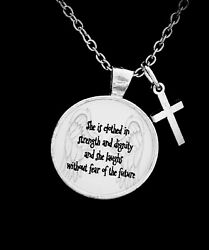 Christian Necklace Proverbs 31 She Is Clothed In Strength Cross Jewelry