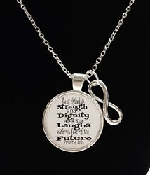 Christian Necklace Proverbs 31:25 She Is Clothed In Strength Scripture Jewelry