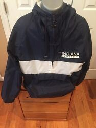 Indiana University Anorak Jacket Navy Size Medium Zip Coat College Clothing