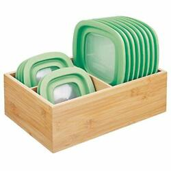 mDesign Bamboo Wood Kitchen Storage Bin Organizer for Food Container Lids and