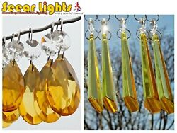 CHANDELIER CUT GLASS CRYSTALS DROPS ORANGE 5 DROPLETS VINTAGE CHIC WEDDING BEADS GBP 15.99