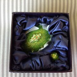 STAUER  green Jewelry Egg with stand & Pendant necklace 24