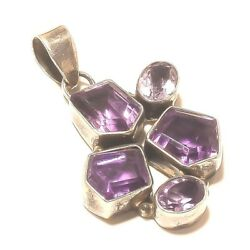 Pendant Amethyst Sterling Silver Beautiful Ornament Jewelry MB385DP