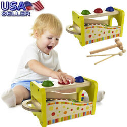 Wooden Hammering & Pounding Toys + 8 Notes Xylophone + Shape Color Recognition U