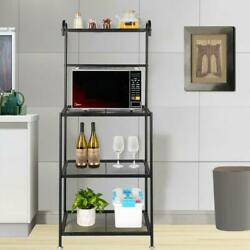 4 Tier Microwave Oven Cart Bakers Rack Kitchen Storage Shelves Stand Metal $62.99