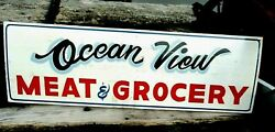 Vintage Style OCEAN VIEW Wood Hand Painted SEA Bay Beach MEAT GROCERY Store Sign