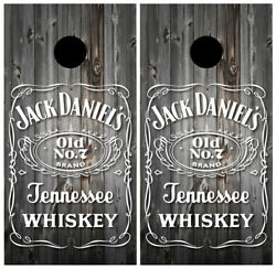Jack Daniels Wood Cornhole Board Wraps Skins Vinyl Laminated HIGH QUALITY!
