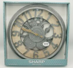 Wall Clock Gears Country Farmhouse Vintage Style Metal Glass Steampunk SHARP NEW $39.90