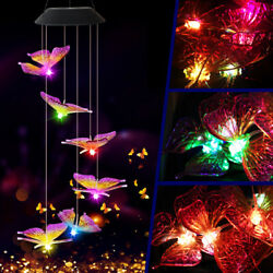 LED Butterfly Wind Chime Solar Powered Lights Color-Changing Yard Garden Decor