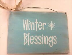 Winter Blessings Blue White Painted Wooden Christmas Wall Wreath Sign snowflakes