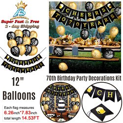 Decorations Kit Cheers 70th Birthday Banner Latex Balloons Black Party Favor New $19.13