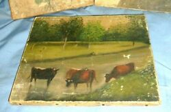 One  Antique Canvas Painting Cow on a Farm  R.W. Devoe Co. 8