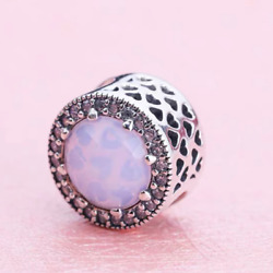 Authentic Pandora Silver Bead  Radiant Hearts Pink Crystal Charm 791725NOP