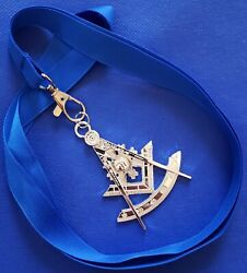 Masonic Collar SILVER Jewel PAST MASTER with Blue NECK Strap by DEURA USA $16.99