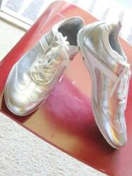 Andrea Morelli Made In Italy Soft Leather Silver Sneakers Size US 11 EU 44