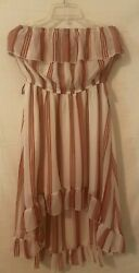 NWT Rue 21 Womens Large Strapless Tank Maxi Dress High Low Striped Red White