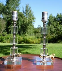 Vintage Pair Mid Century Modern Stacked Lucite Table Lamps Hollywood Regency $265.50