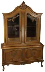CHINA CABINET LOUIS XV ROCOCO VINTAGE FRENCH 1950 OAK WOOD GLASS DOORS $1989.00