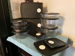 TUPPERWARE Acrylic Crystalwave ROCK-N-SERVE SET ~ 9 Containers ~ 2 Ex.Lids~ExPrO