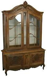 CHINA CABINET LOUIS XV ROCOCO VINTAGE FRENCH 1950 OAK WOOD GLASS DOORS $1929.00