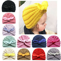 Newborn Toddler Baby Turban Knit Rabbit Bow Knot Head Wrap Indian Beanie Hat Cap