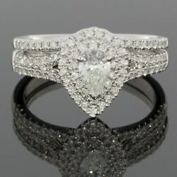 White Gold 0.85ct Pear Diamond Halo Engagement Ring MSRP: $3750