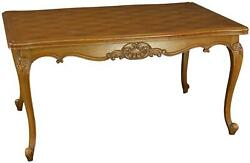 TABLE LOUIS XV ROCOCO VINTAGE FRENCH 1950 PARQUET TOP OAK TWO LEAVES EXTENDING $1369.00