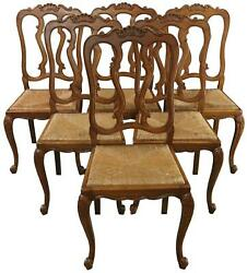 DINING CHAIRS LOUIS XV ROCOCO VINTAGE FRENCH 1950 OAK RATTAN CHARMING SET 6 $2699.00