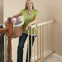 Top of Stairs Extra Tall Hardware Mount Gate Baby Tan Wood Stairways Safe $51.40