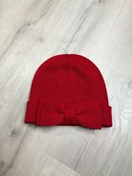 Kate Spade Charm Red Bow Beanie Sweater Knit Winter Hat Cozy Warm Accessory