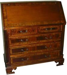 DESK GEORGIAN STYLE MAHOGANY  HAND TOOLED LEATHER  BANDED INLAY  CARVED FEE $2,079.00