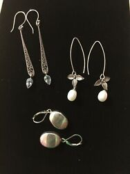 Sterling Silver Awesome Lot Of 3 Pairs Of Dangle Earrings 925
