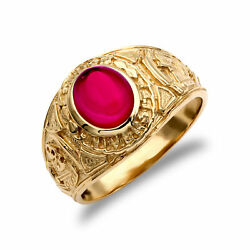 Jewelco London Mens 9ct Gold Red CZ Cabochon Solitaire University College Ring