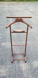 Butler stand clothes suit rack SPQR MADE IN ITALY Vintage CHERRY wood Vintage