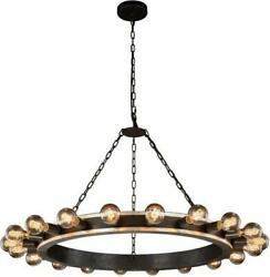 PENDANT WINSTON CIRCULAR FRAME 20-LIGHT AGED IRON SOLID NEW HAND-CRAFTED