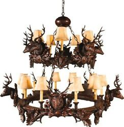 CHANDELIER 10 STAG HEADS DEER RUSTIC 2-TIER SMALL OK CASTING 15 CANDELABRA