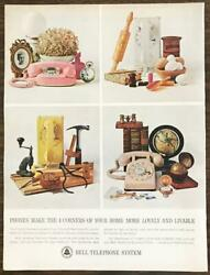 1963 Bell Telephone System Print Ad Four Corners of Your Home Wall Princess Desk $10.59
