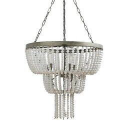 Two Tier w Teardrop Wood Beaded Chandelier White Paint French Country 25 inches $460.90