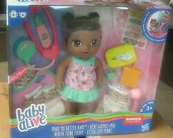 Baby Alive Make Me Better Baby Doll African American Check Temp She Drinks Pees