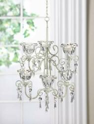 WHITE baroque crystals iron scrollwork shabby hanging Candle Holder Chandelier $42.00