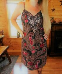 Victoria's Secret small paisley lingerie lace babydoll evening gown satin sexy
