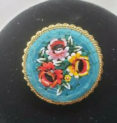 Micro Mosaic Brooch Italy Fine Detail Blue Red Yellow